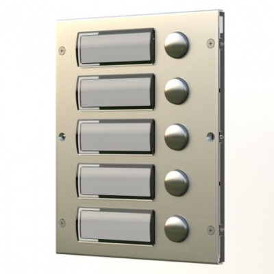 Videx 8845  8000 Series 5 Call Buttons with Back Lit Name Plates Module in Stainless