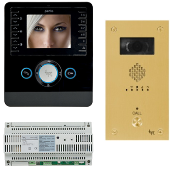 BPT Perla 1 way Kits with VR Brass Video entry Panels