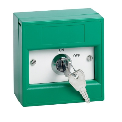 SSP KGG1SG-KS Key switch enclosed in a green break glass unit