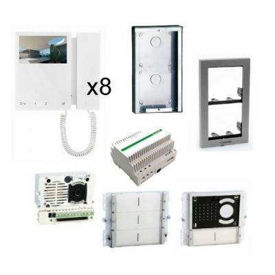 Comelit IBK8-M ikall 8 user building kit with mini monitors