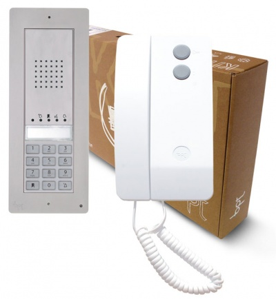 BPT Thangram 2 button kit with Agata handsets and keypad