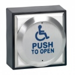SSP CM-41/4 4'' Round Switch with Disabled Logo engraved ''PUSH TO OPEN''